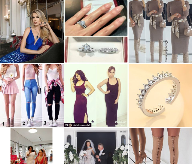 screenshots of instagram hashtag search for jewellery